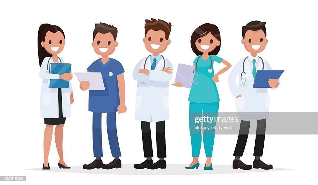 Team doctors on a white background. Vector illustration