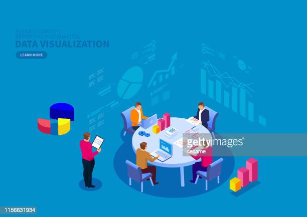 team financial data reporting and analysis - meeting stock illustrations