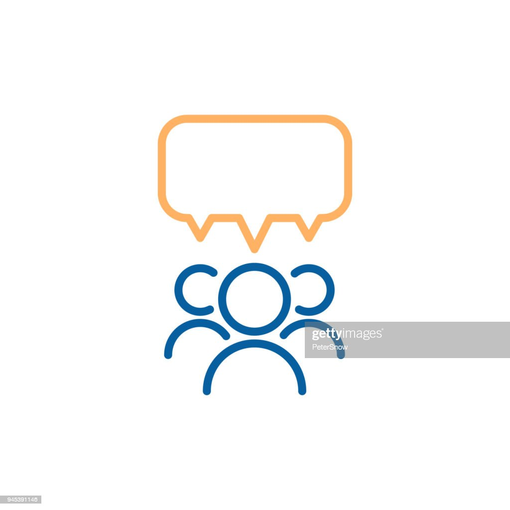 Team group of people speaking and debating with a speech bubble. Vector thin line icon design illustration.