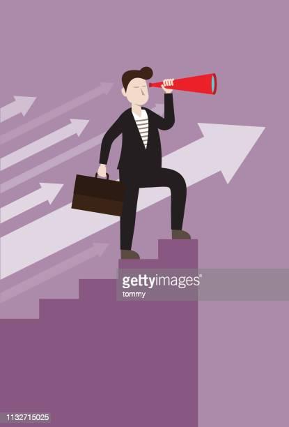 team leader looking business opportunities - guru stock illustrations, clip art, cartoons, & icons