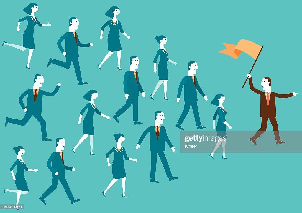 Team Leader Sie der/neue Biz : Stock-Illustration