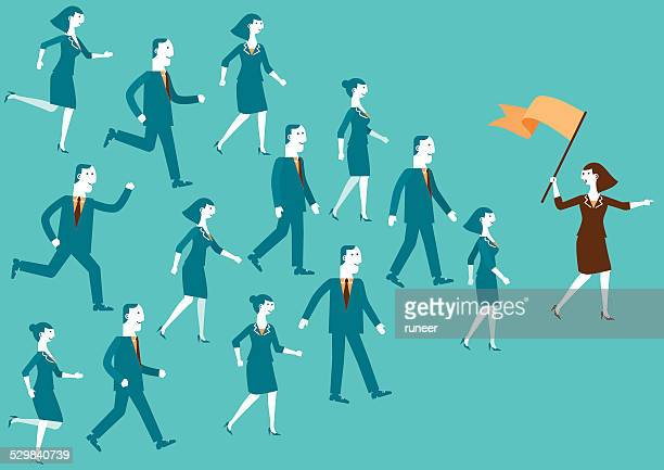 stockillustraties, clipart, cartoons en iconen met team leader showing the way | new biz - democratie
