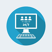 Team network services 24/7 - Vector flat icon