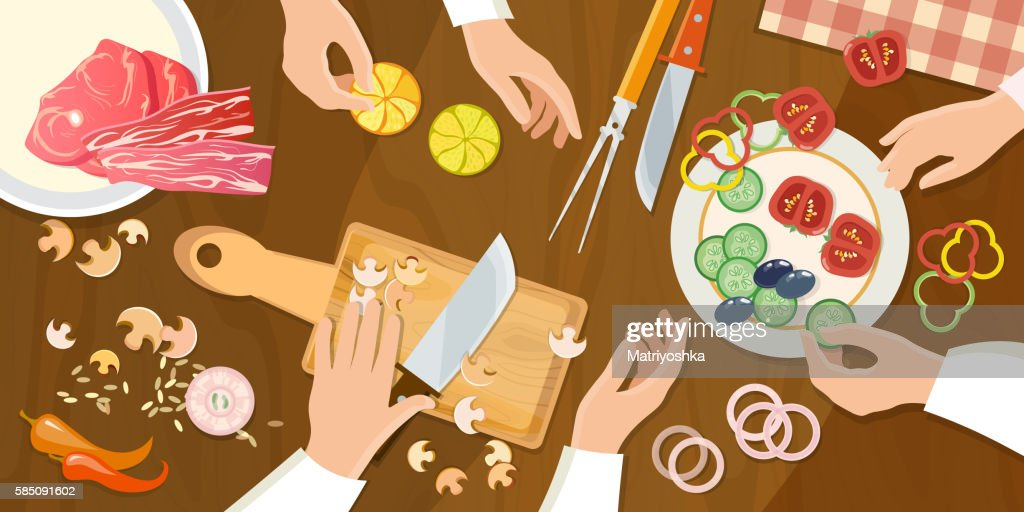 Team of chefs preparing food top view cartoon