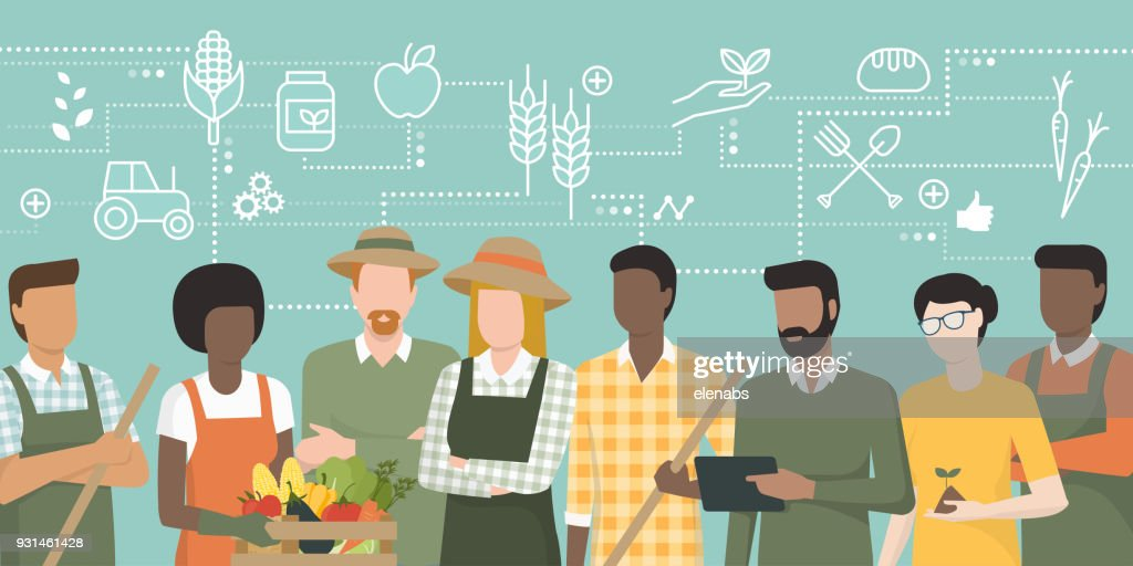 Team of farmers working together
