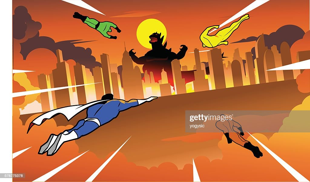 Team of superheroes flying to fight giant monster