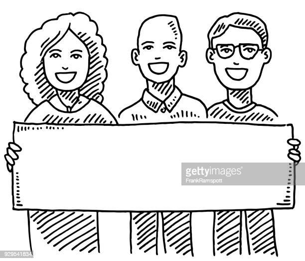 Team Of Three People Holding Blank Sign Drawing