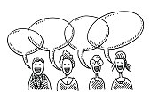 Team People Speech Bubbles Drawing