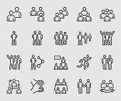 Team people, Teamwork, Partnership, Success line icon