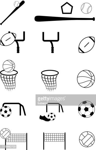 team sports black and white royalty free vector icon set - football league stock illustrations