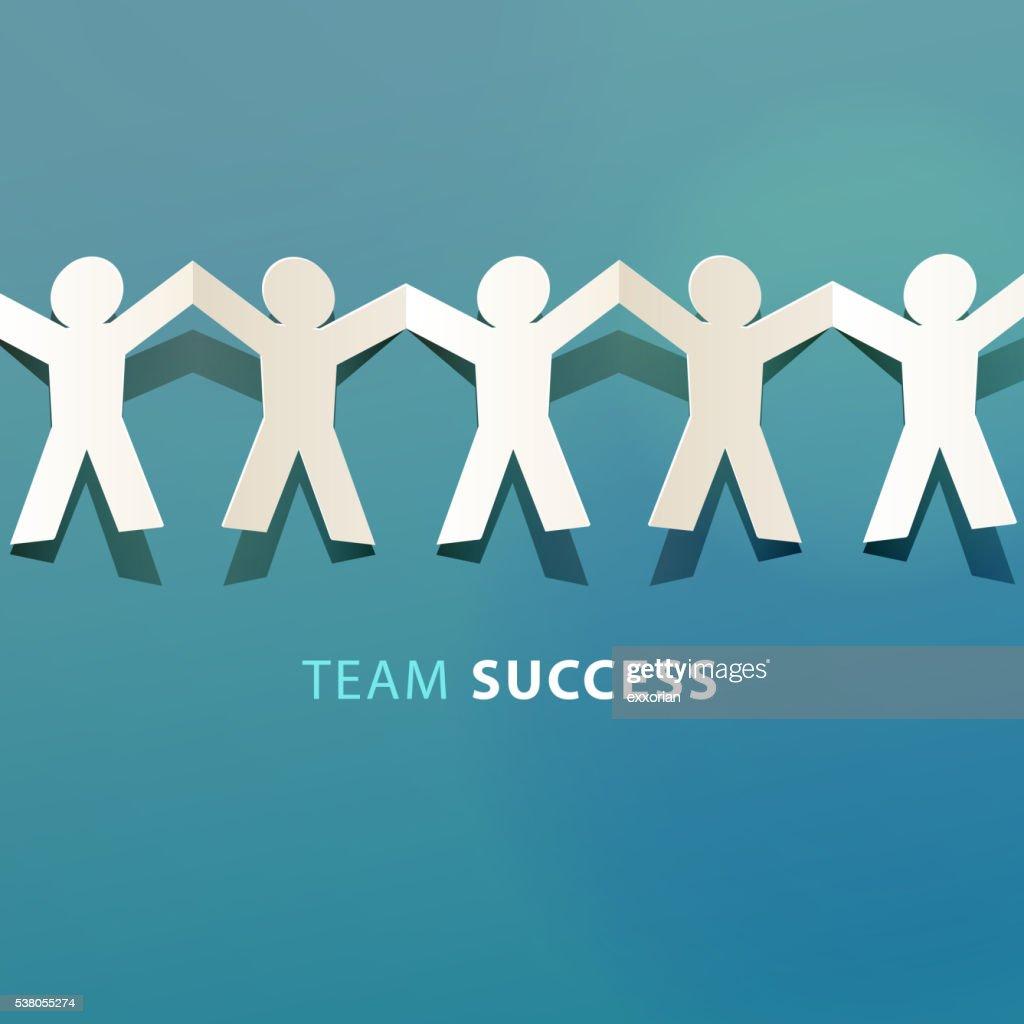 Team Erfolg Konzept-Papier-Schnitt : Stock-Illustration