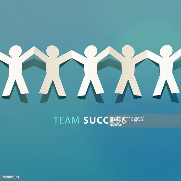 team success concept paper cut - togetherness stock illustrations