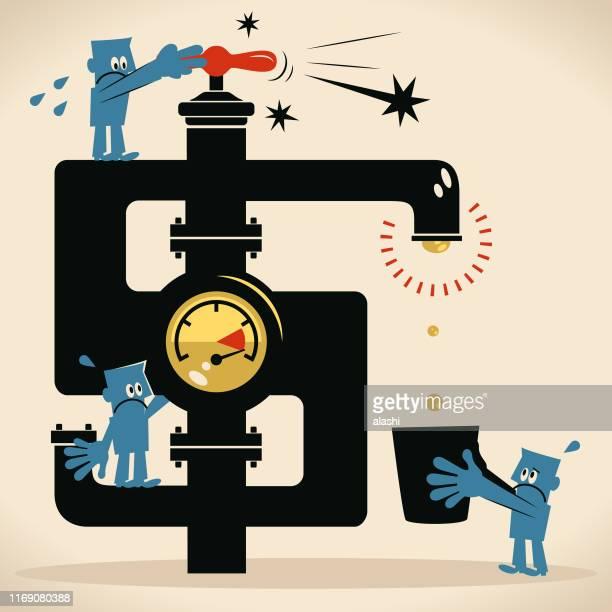 ilustrações, clipart, desenhos animados e ícones de equipe que gira na torneira do sinal de dólar mas nenhuma água do faucet - water meter