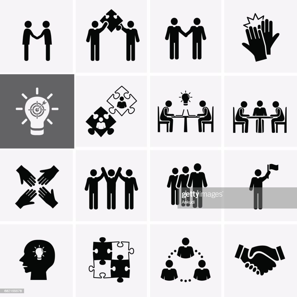 Team Work, Career and Business Process Icons.