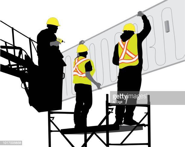 team work construction - high up stock illustrations