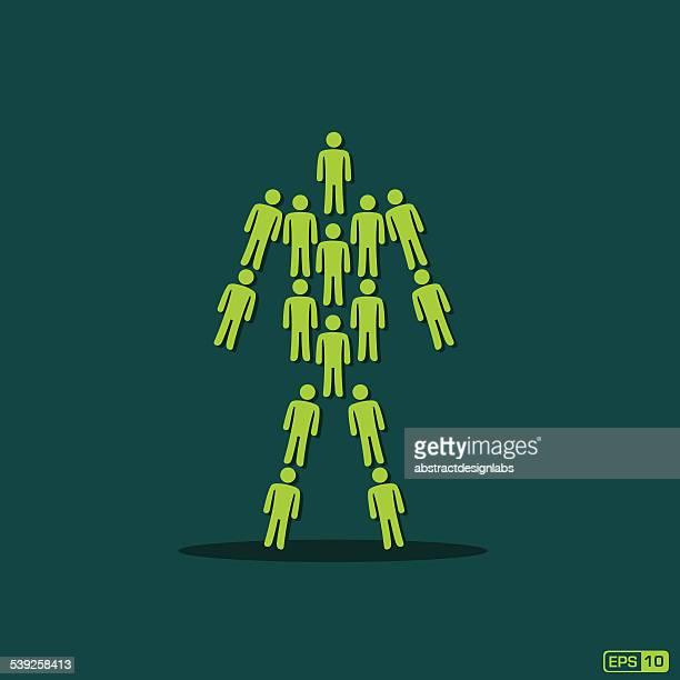 team work illustration or great team - coordination stock illustrations, clip art, cartoons, & icons