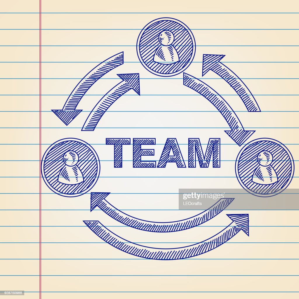 Team work infographic Drawing on Lined paper : stock vector