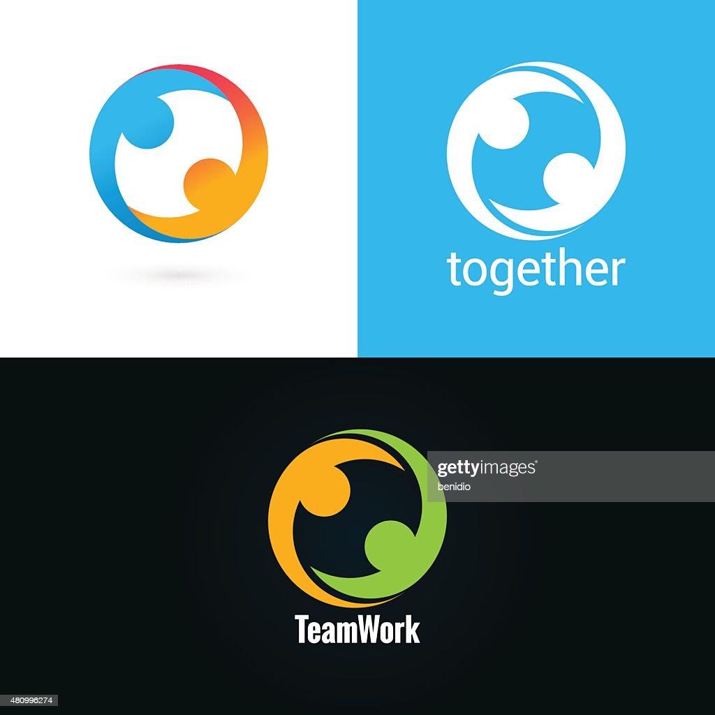 team work logo design icon set background