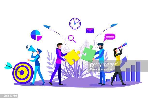 illustrations, cliparts, dessins animés et icônes de solution de gestion du travail d'équipe et d'affaires - cadre d'entreprise