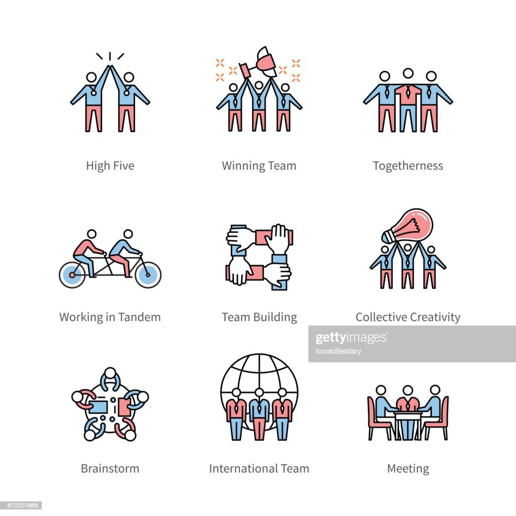 Team work, management, business concept symbols