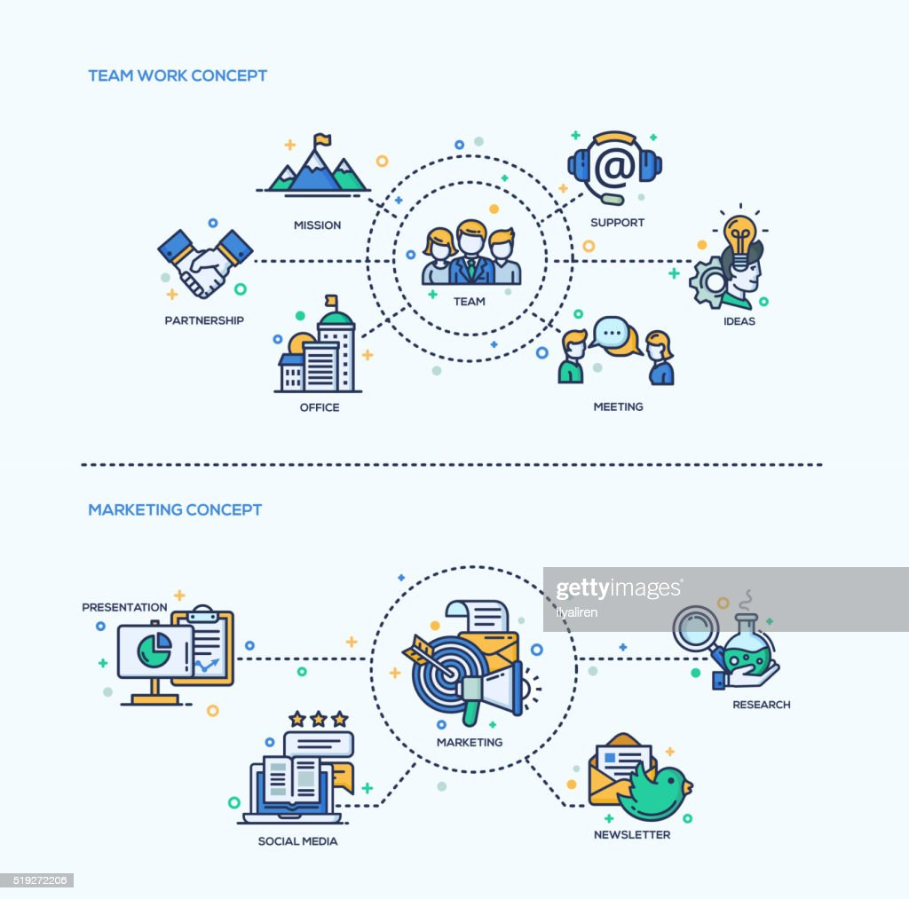 Team Work, Marketing  Icons Business Concept Compositions Set