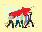 Team work people management business concept symbols flat colorful design characters vector illustration elements