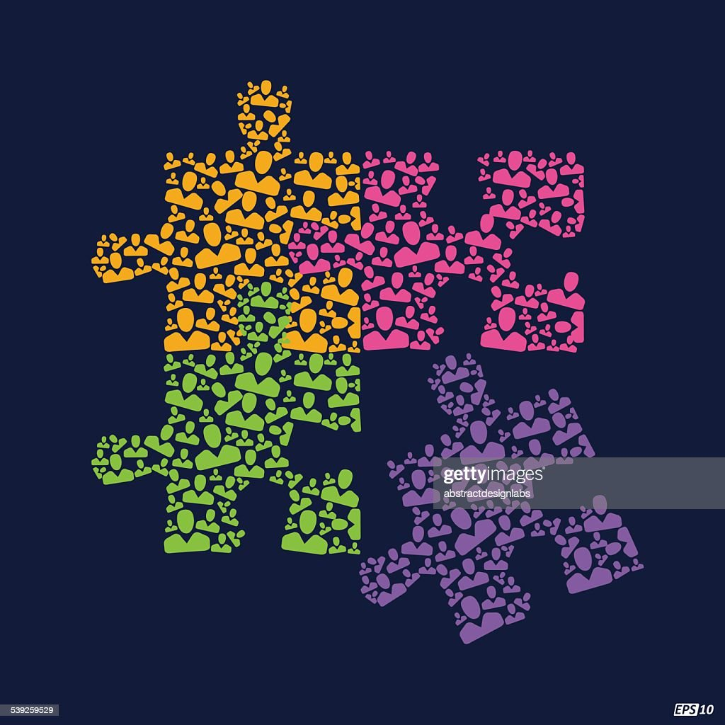 Team Work puzzle illustration or Great Team