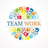Team work symbol. Vector creative concept.