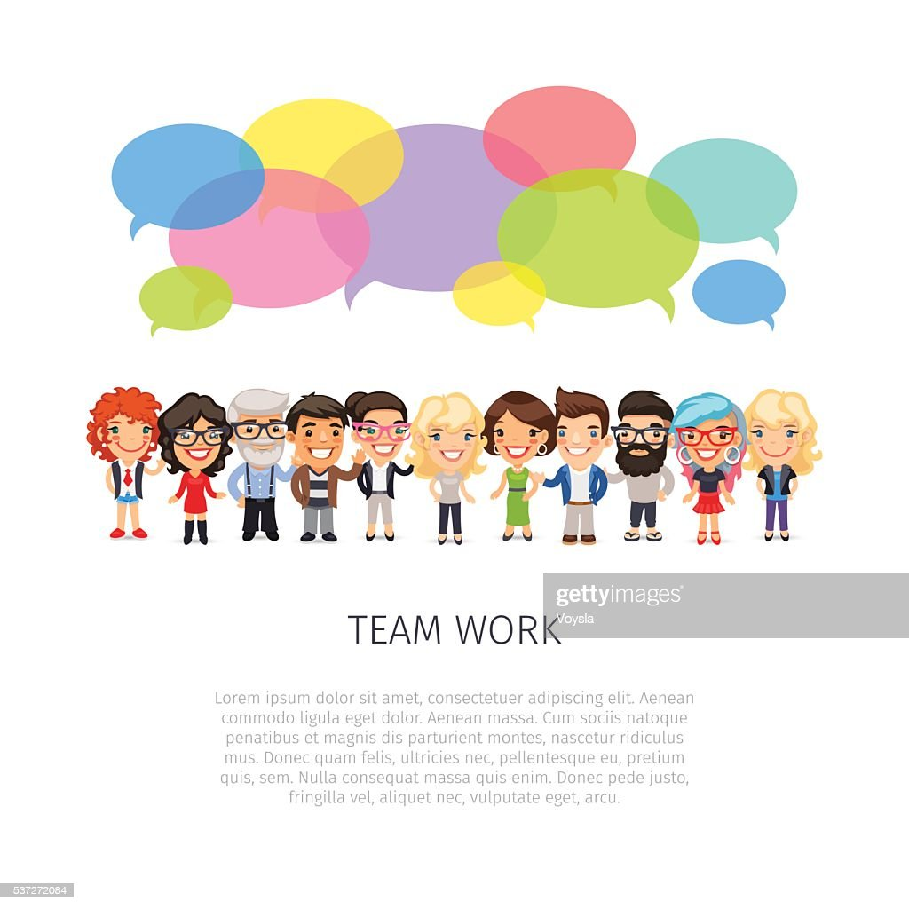 Team Work with Colorful Speech Bubbles