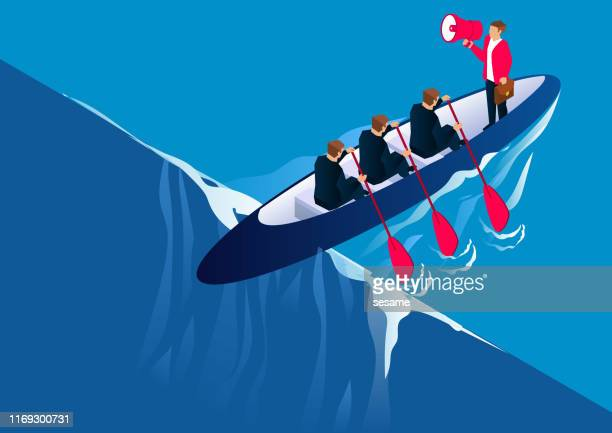 teamwork and business challenge concept, team paddling against the water - risk stock illustrations