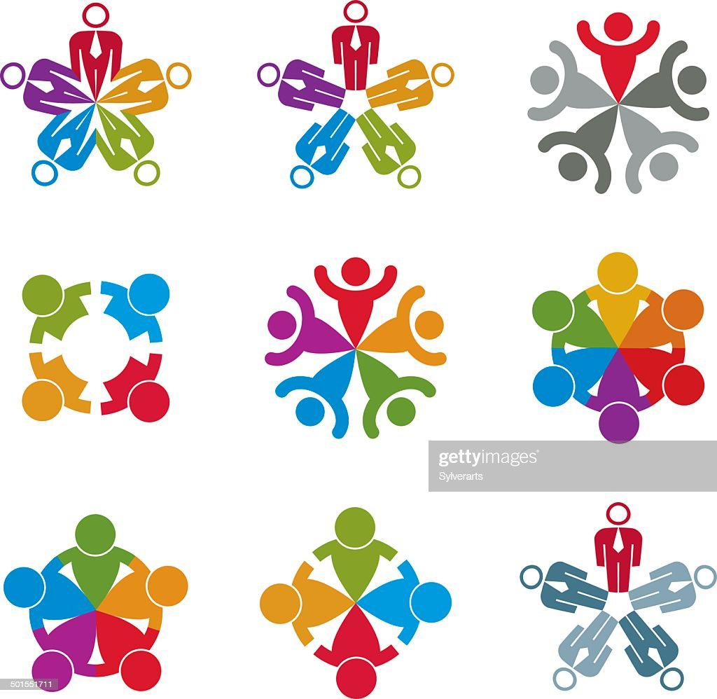 Teamwork and business team icons set