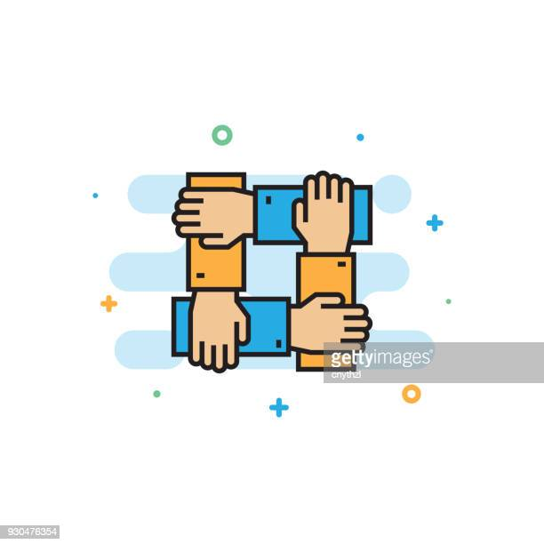teamwork and cooperation concept flat line icon - new hire stock illustrations