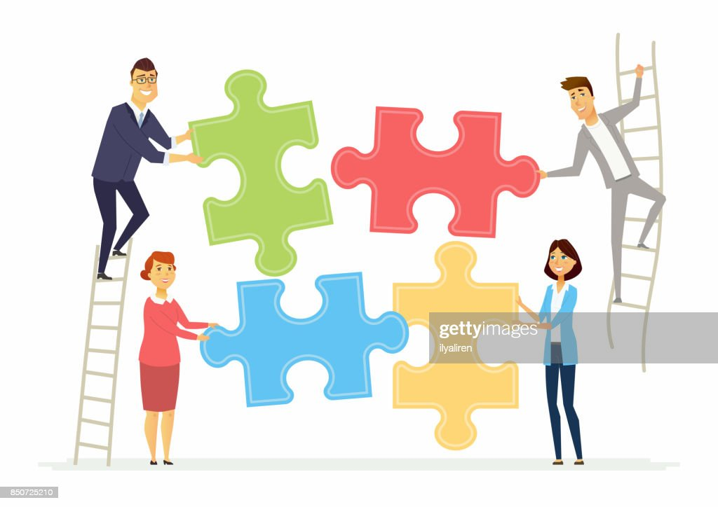 Teamwork and cooperation for business - modern cartoon people characters illustration