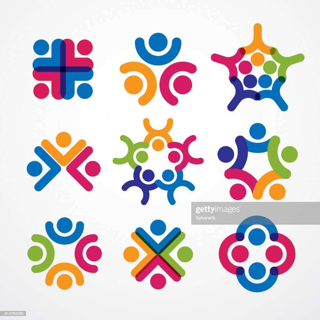 Teamwork and friendship concepts created with simple geometric elements as a people crew. Vector icons set. Unity and collaboration ideas, dream team of business people colorful designs.