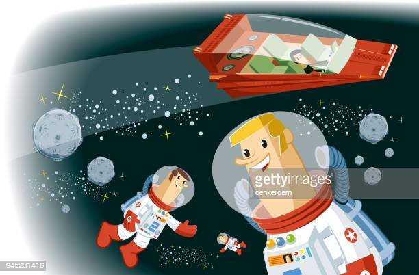 teamwork at space - astronaut stock illustrations, clip art, cartoons, & icons