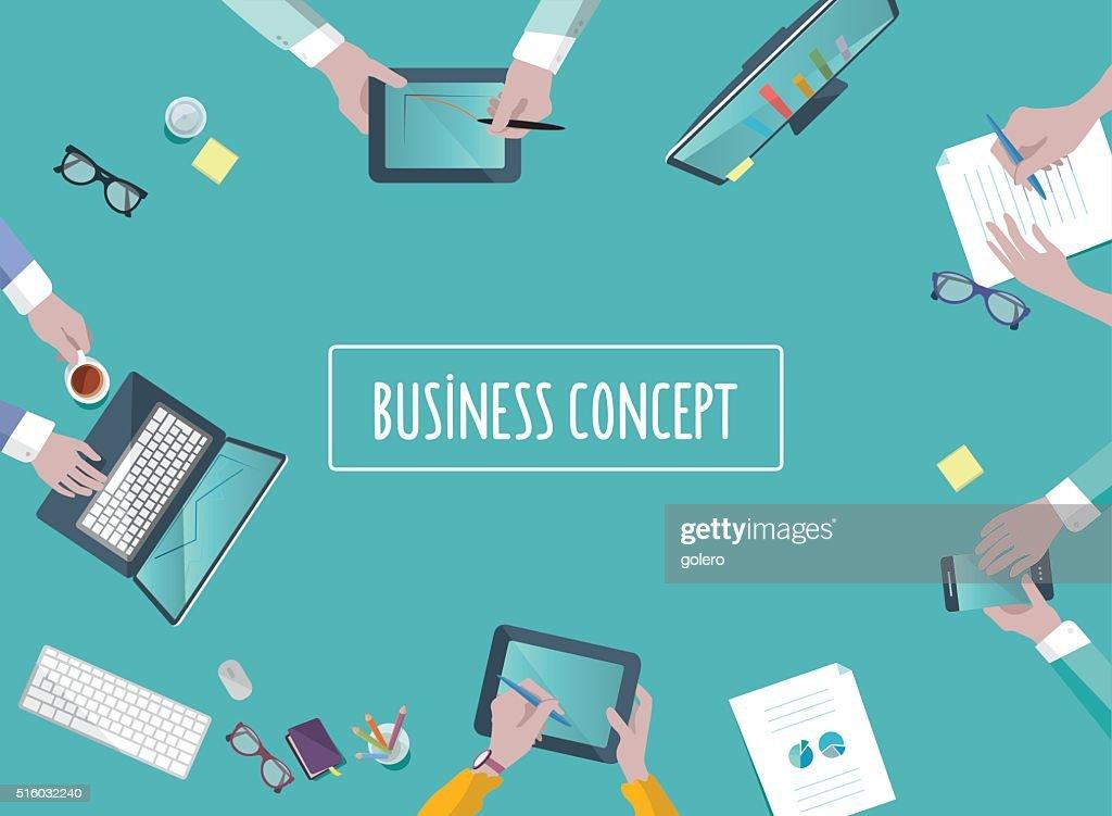 Concepto de trabajo en equipo negocio mesa en estilo plano : Ilustración de stock