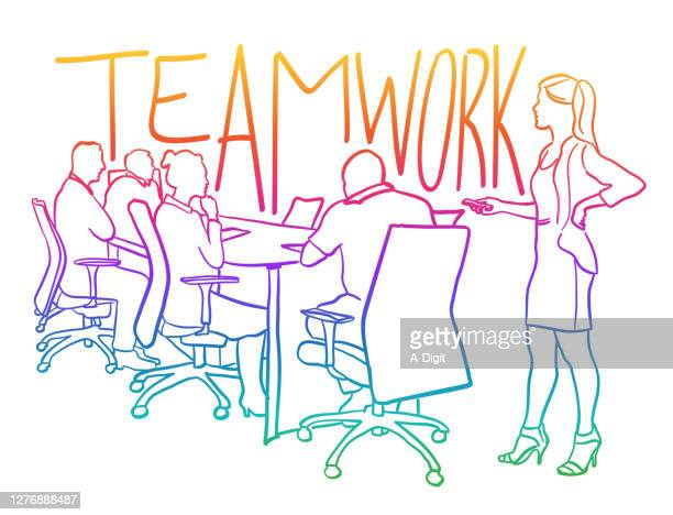 teamwork business presentation rainbow - employee engagement stock illustrations