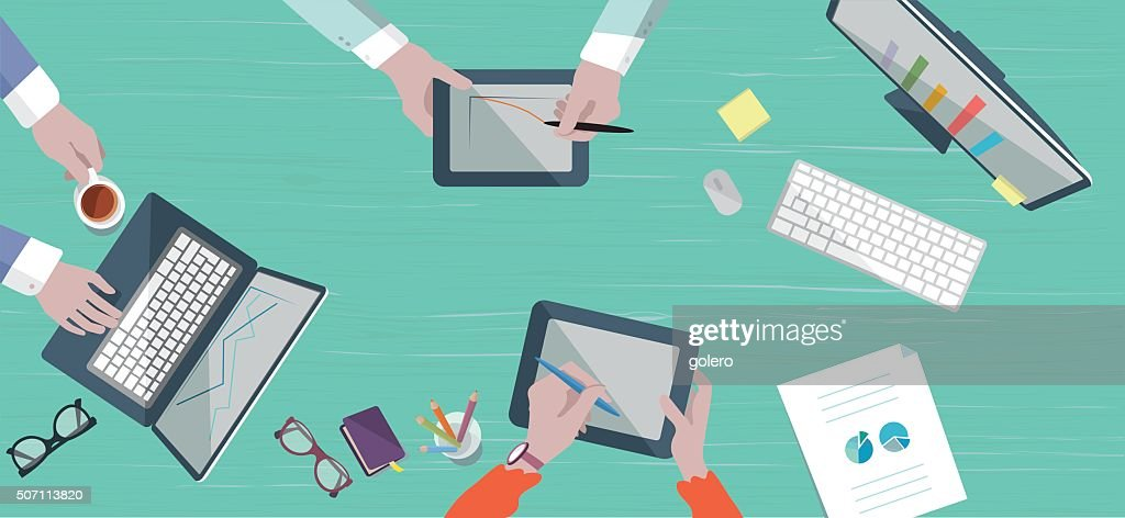 teamwork business scene on table in flat style : stock illustration