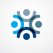 Teamwork businessman unity and cooperation concept created with simple geometric elements as a people crew. Vector icon. Friendship dream team, united crew blue design.
