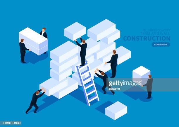 illustrazioni stock, clip art, cartoni animati e icone di tendenza di lavoro di squadra che trasporta muro di costruzione in mattoni - realizzazione