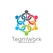 Teamwork chain . Business team union concept icon on white background.