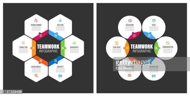 teamwork chart with keywords - infographic stock illustrations