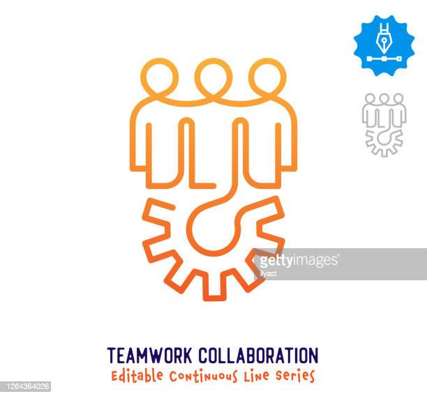 teamwork collaboration continuous line editable stroke icon - employee engagement stock illustrations