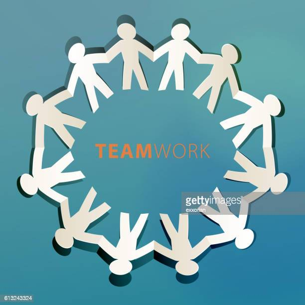 Teamwork Concept Paper Cut