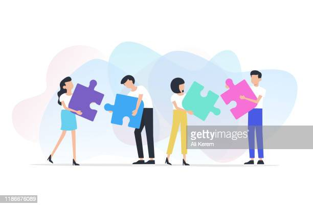 teamwork concept - employee engagement stock illustrations