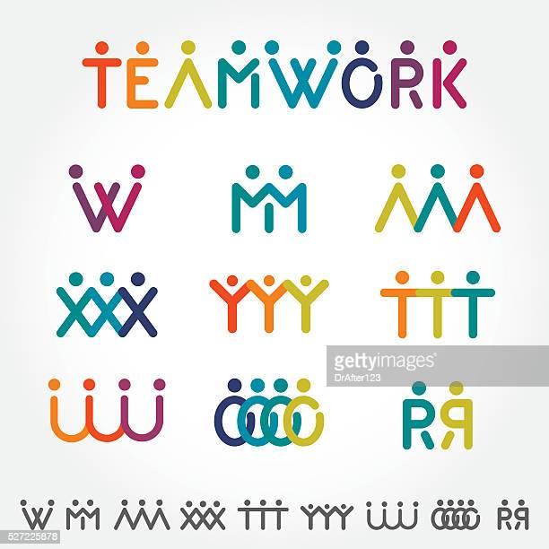 illustrazioni stock, clip art, cartoni animati e icone di tendenza di concetto di lavoro di squadra - unità