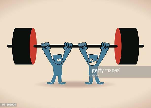 ilustraciones, imágenes clip art, dibujos animados e iconos de stock de hombre de negocios, trabajo en equipo concepto levantamiento de pesas, dos hombre levantando pesas altas - entrenamiento de fuerza