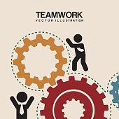 teamwork design over pink background  vector illustratio