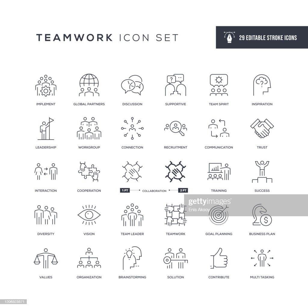Teamwork Editable Stroke Line Icons : Stock-Illustration