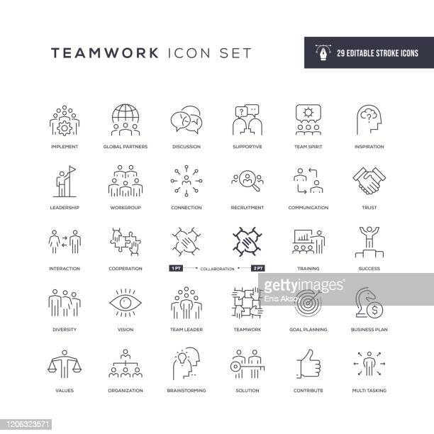 illustrazioni stock, clip art, cartoni animati e icone di tendenza di teamwork editable stroke line icons - diversità